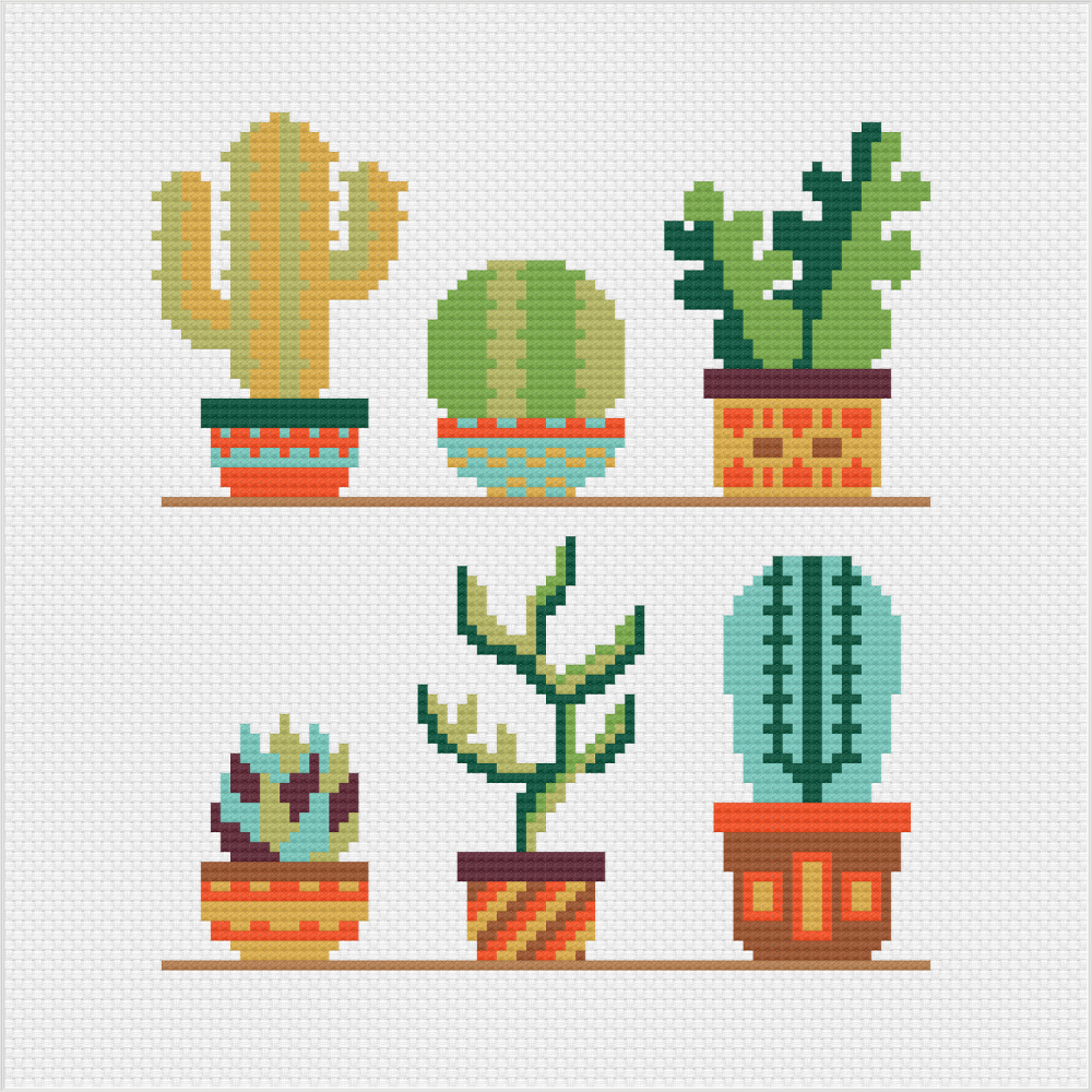 Meloca Cross Stitch Kit Designs: Cactus Cross Stitch Full Kit #3