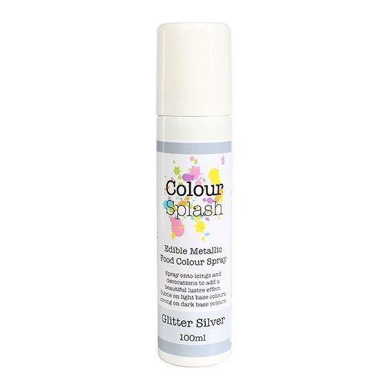 Colour Splash Edible Food Colour Spray Metallic Glitter Silver 100ml. 75033