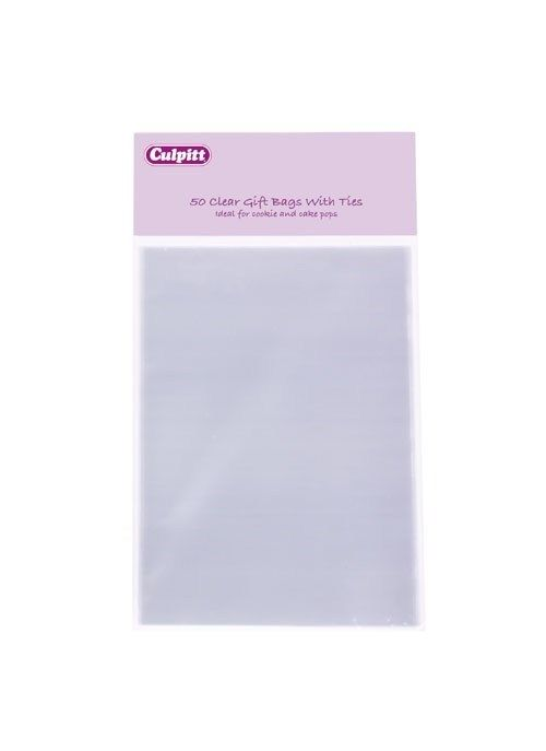 CULPITT Small Clear Gift Bags With Ties 50 Piece. 15303
