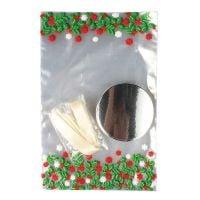 15313  Holly Cupcake Bag With Ties - 12 Piece