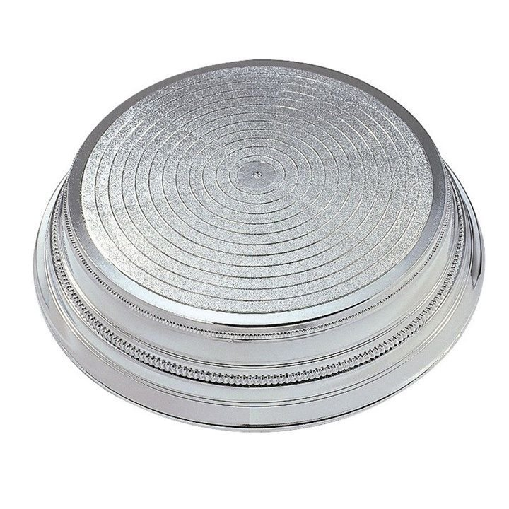 CULPITT  Round Plastic Cake Stand - Silver 355mm.  PACK OF 1.  7710
