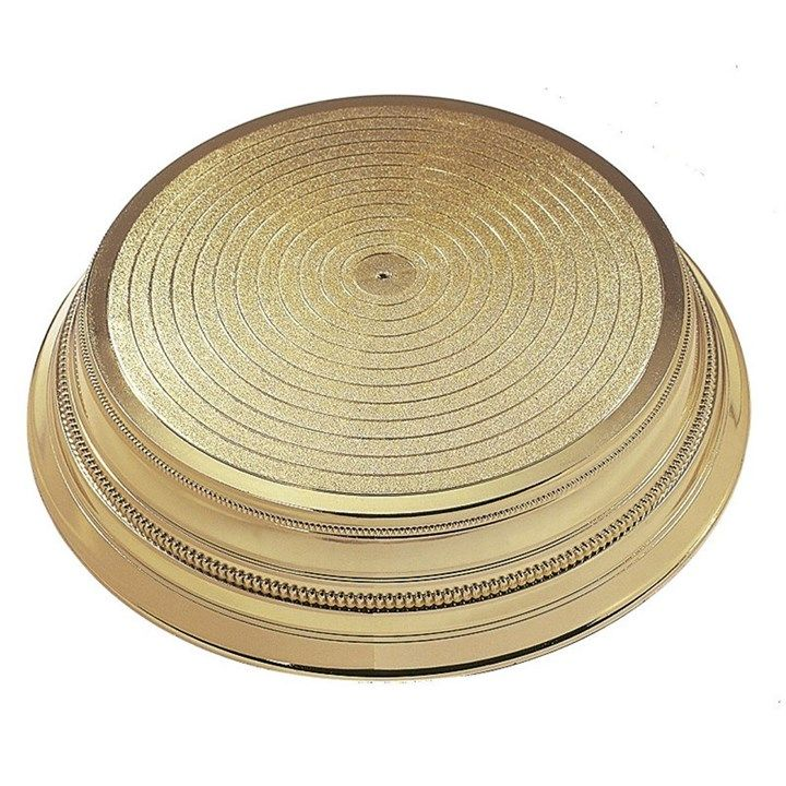 CULPITT Round Plastic Cake Stand - Gold 355mm. PACK OF 1. 7711
