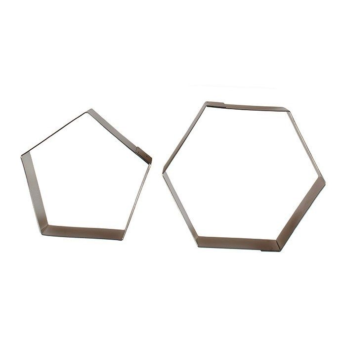 81868  Football Cutters For 6'' Diameter Cake - Hexagon And Pentagon - Set Of 2