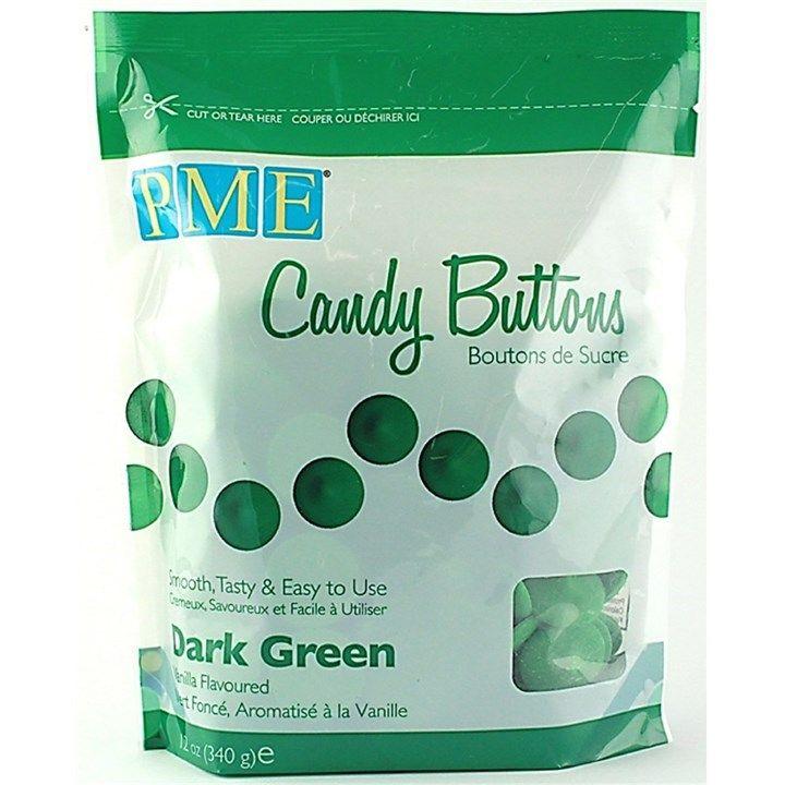 PME Candy Buttons Vanilla Dark Green 340g. 6067