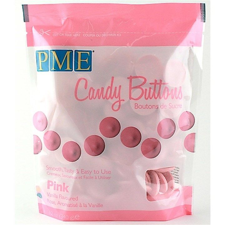 PME Candy Buttons Vanilla Pink 340g. 6063