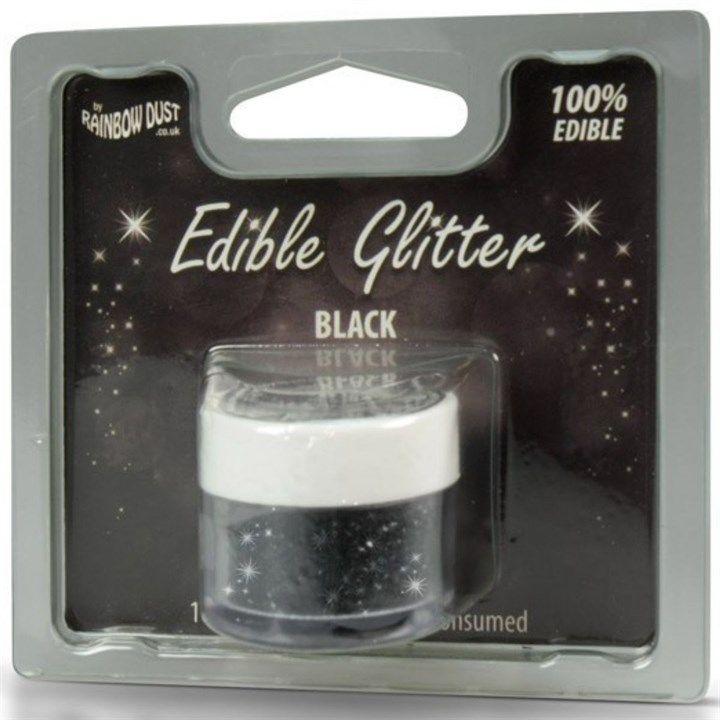 Rainbow Dust Edible Glitter - Black - 5g - Retail Packed. 553680