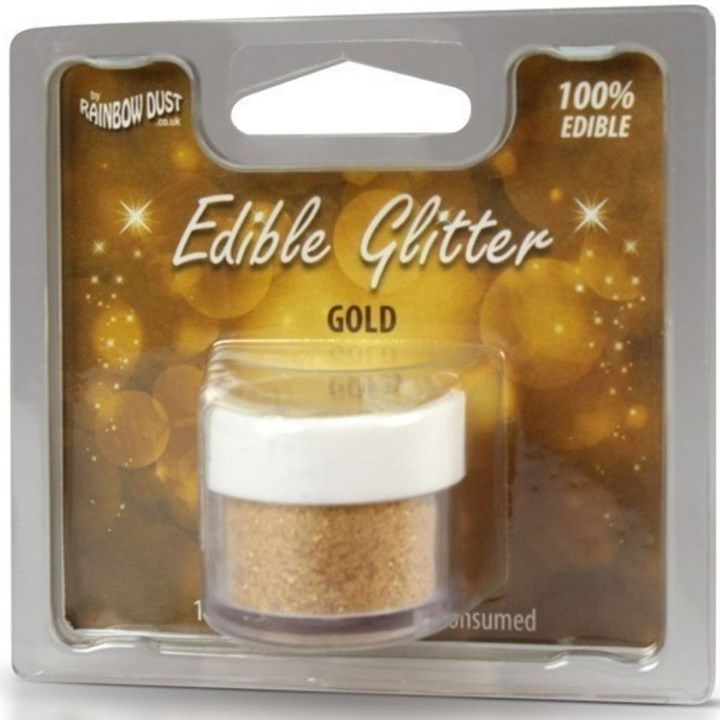 Rainbow Dust Edible Glitter - Gold - 5g - Retail Packed. 553780