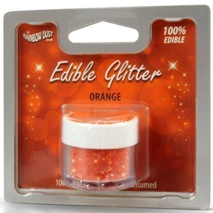 Rainbow Dust Edible Glitter - Orange - 5g - Retail Pack. 553650