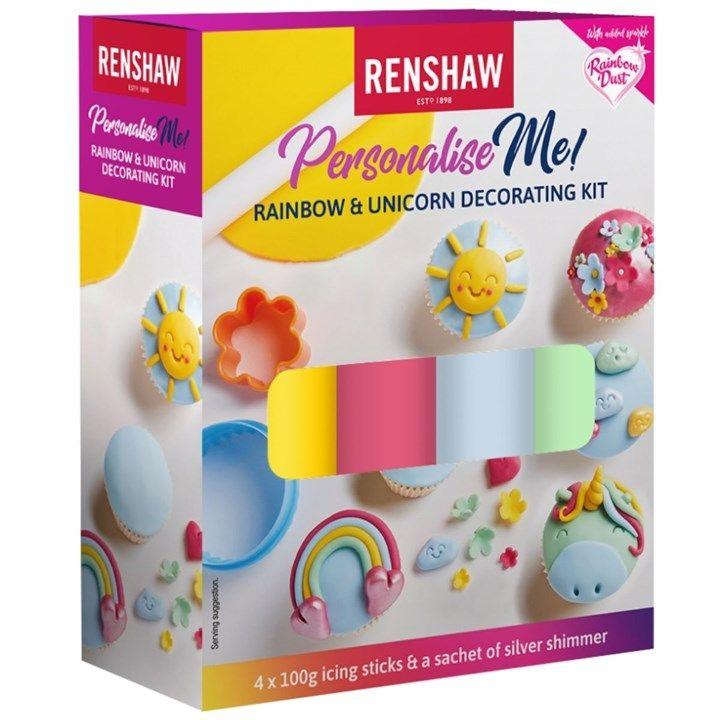 Renshaw - Multipack -Rainbow & Unicorn Decorating Kit - 4 X 100g & 2g Shimmer - 6 Pack . 6078