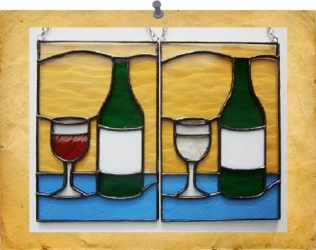 wine bottle & glass - red or white