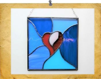 framed blue heart