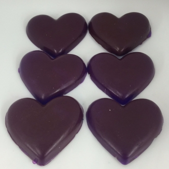 12 x 6 Blackcurrant Scented Mini Heart Soaps