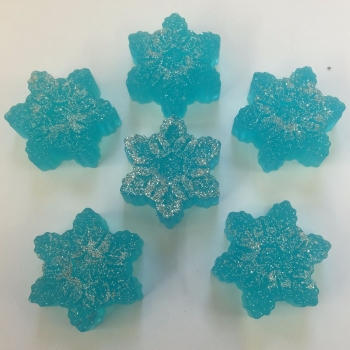 12 x 6 Mini Christmas Snowflake Soaps in Blue