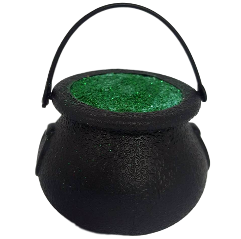 6 x Witch's Ghastly Green Glitter Cauldron Halloween Bath Bomb