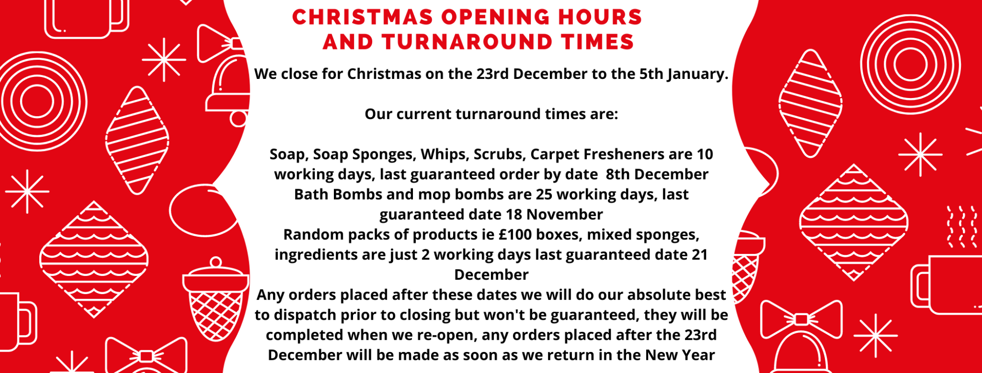CHRISTMAS OPENING HOURS AND TURNAROUND TIMES