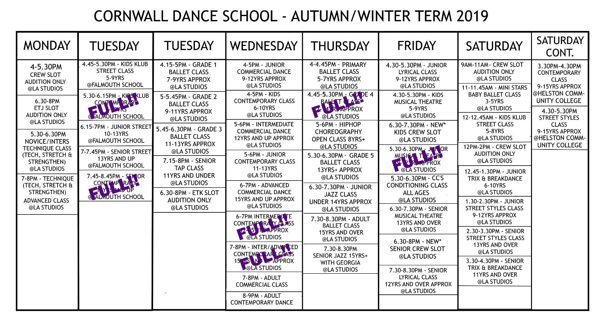 Cornwall Dance School Dance Class Timetable