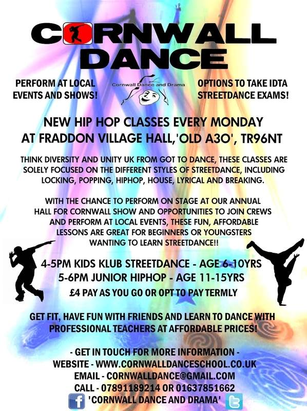 Poster for Fraddon Streetdance Classes Fraddon Dance class Fraddon hiphop c