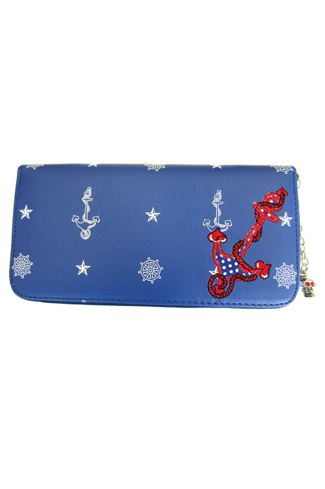 Blue Anchor Retro Long Purse By Banned