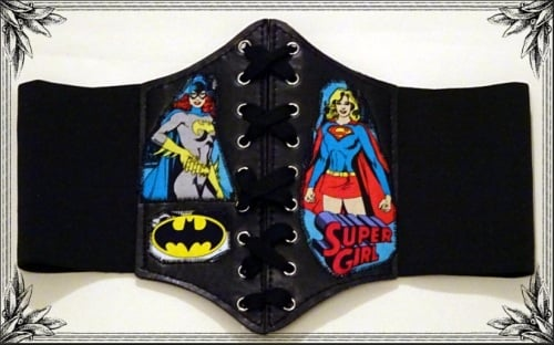 Superhero Bat Girl & Super Girl Waist Belt Cinche