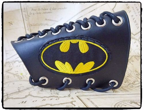 Cosplay Batman Style Steampunk LARP Arm Bracer, Handfinished
