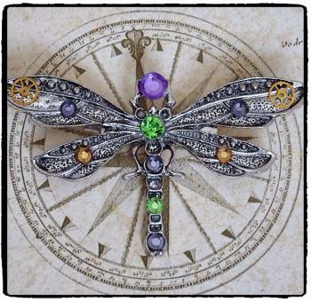 Steampunk Victorian Dragonfly Handmade Brooch