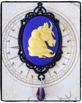 Steampunk Victorian Unicorn Cameo Handmade Brooch