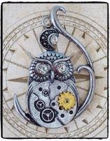 Steampunk Owl Brooch