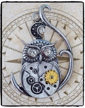 Steampunk Owl Brooch