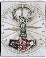 Steampunk Thor's Hammer Brooch