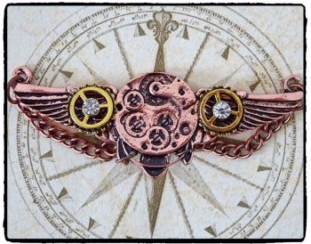 Steampunk Aviator Wings Brooch