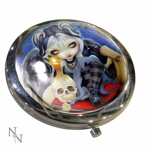 Gothic Skull, Sign of Our Parting Compact Mirror, Handbag Mirror by Nemesis