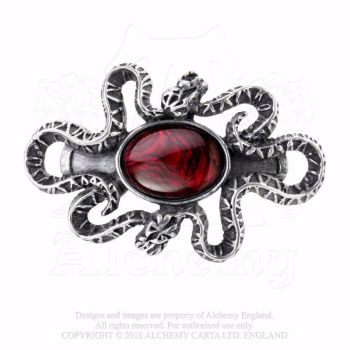 Gothic Pewter Snakes Hair Clip, Serpent's Eye by Alchemy Gothic