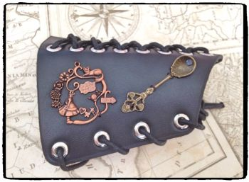 Cosplay Alice in Wonderland Steampunk Leather Arm Cuff Bracer, Handfinished