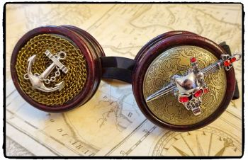 Handfinished Steampunk, Victorian, Clockwork, Pirate Nautical Cosplay Goggles