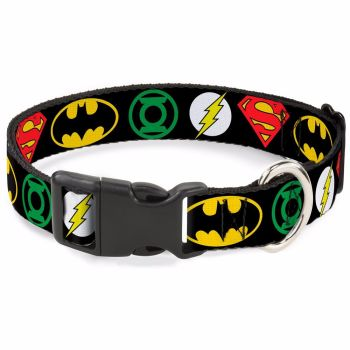 DC Comics, Justice League Logos, Superhero, Batman, Superman, The Flash, Green Lantern, Pet Dog Collar
