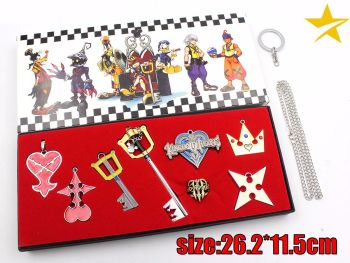 Kingdom Of Hearts Anime Pendant & Keyring Jewellery Set