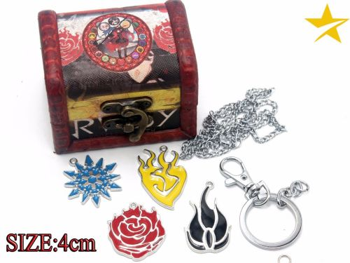 RWBY Anime Pendant & Keyring Jewellery Set