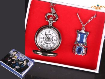 Black Butler Inspired Anime Pocket Watch, Ring and Pendant Jewellery Set