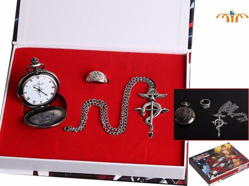 Full Metal Alchemist Anime Pocket Watch, Ring & Pendant Jewellery Set