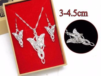 Lord of the Rings Inspired, Arwen Evanstar Pendant & Earring Jewellery Set