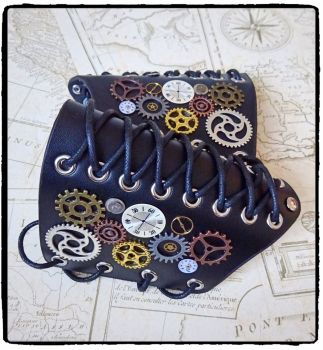 Cosplay Steampunk Cogs, Gears Leather Arm Cuff Bracers (pair) , Handfinished