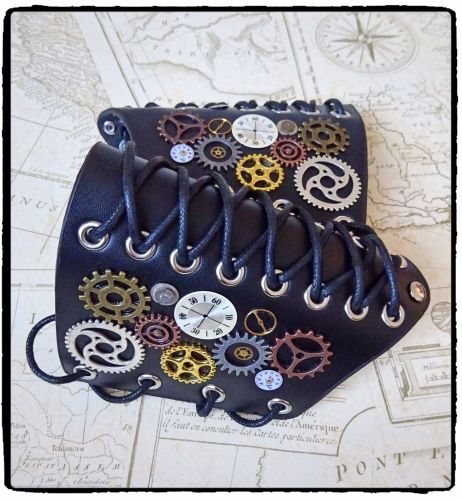 Cosplay Steampunk Cog Leather Arm Cuff Bracer, Handfinished