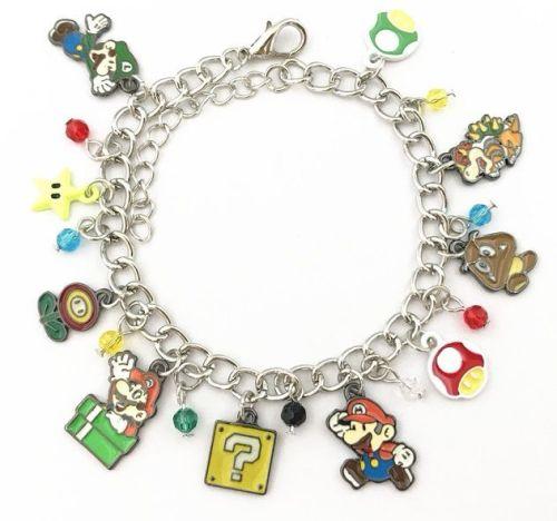 Super Mario Gamer, Mario, Luigi, Bowser Style Charm Bracelet
