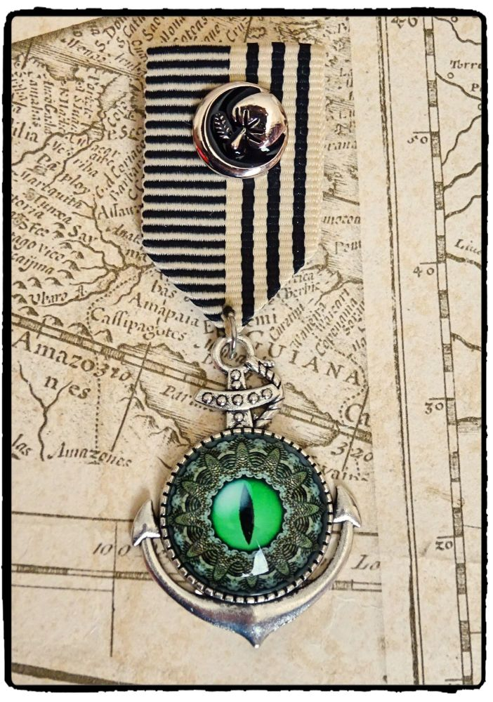 Steampunk, Kraken, Octopus, Anchor Military Medal
