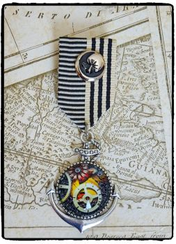 Steampunk, Anchor, Cog, Nautical Military Medal