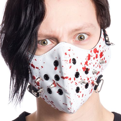 Gothic Punk Horror Blood Splat Studded Cosplay Biker Mask