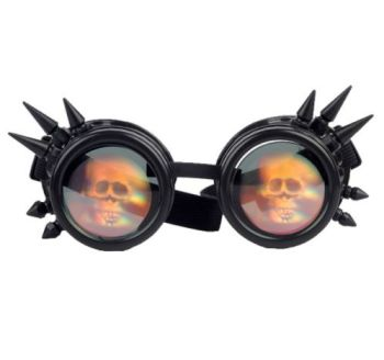 Black Steampunk Skull Hologram Spiked Goggles