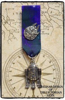 Steampunk, Star Wars, R2-D2, Millennium Falcon Inspired Handmade Medal
