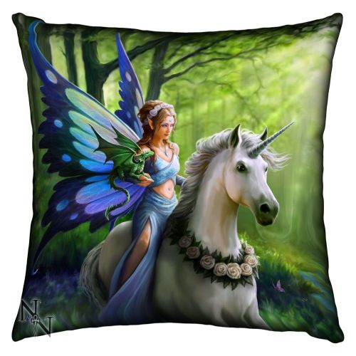 Realm of Enchantment, Fairy, Unicorn, Mythical Silk Finish Cushion by Anne