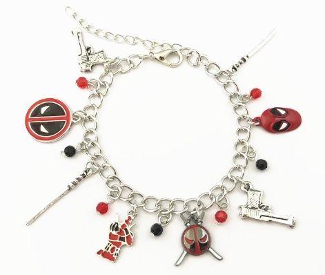 Deadpool, Wade Wilson, Marvel Inspired Style Charm Bracelet